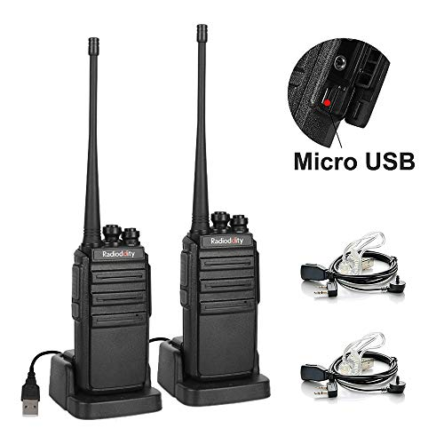 Radioddity GA-2S Long Range Walkie Talkies UHF Two Way Radio Rechargeable with Micro USB Charging + USB Desktop Charger + Air Acoustic Earpiece with Mic, 2 Pack