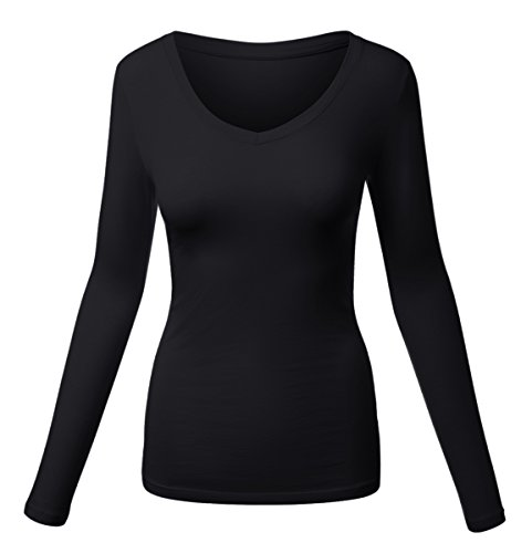 Long Sleeve Jewel Neck Tee (HATOPANTS Basic Long Sleeve V Neck Tee Plus Size Shirts Black XXX-Large)