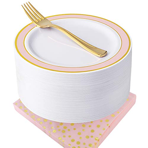 NERVURE Pink with Gold Rim Disposable Plates with Napkins Set 150 PCS: Include 50 Dessert Plates & 50 Gold Forks & 50 Napkins Wedding Party Plastic Plates,Fancy and Appetizer Plates for all Holiday. -