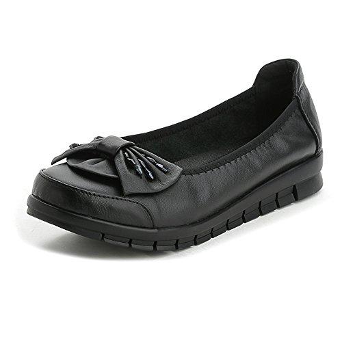 KPHY-Fondo Plano Casual Zapatos De Mujer Flores Zapatos De Suela Blanda Madre Zapatos De Baile Black Treinta Y Cinco Thirty-nine
