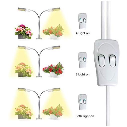 50W Lampada per Piante, Upgrade Grow Light Full Spectrum, 2 Pack Grow Bulbs, Lampada da coltivazione e doppia testa con bulbo sostituibile E27/E26 per semina, crescita, fioritura e fruttificazione