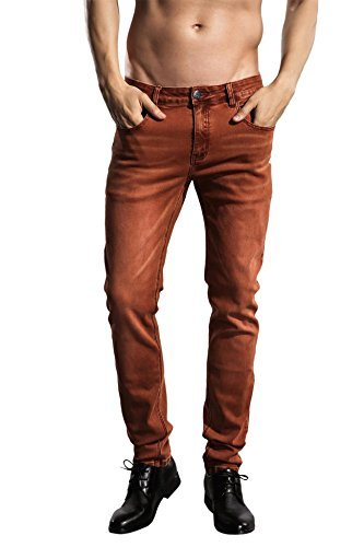 ZLZ Slim Fit Jeans, Men's Younger-Looking Fashionable Colorful Super Comfy Stretch Skinny Fit Denim Jeans (30, Rust)