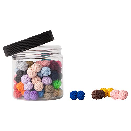 Jacob Alexander Gift Jar 25 Pairs Solid Color Silk Knot Cufflinks Bulk Collection