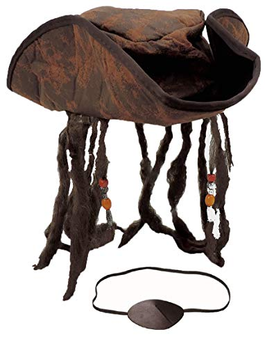 Distressed Brown Carribean Pirate Costume Tri-Corn Hat Adult with Dreadlocks & Eye Patch -
