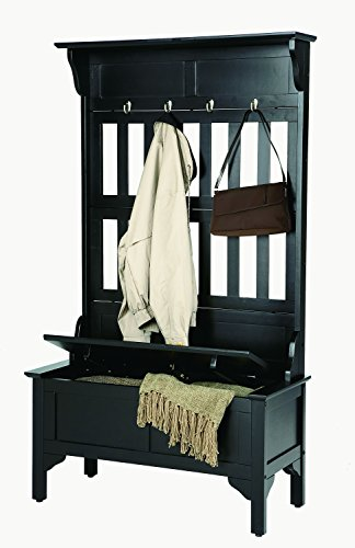 Home Style 5650-49 Full Hall Tree and Storage Bench, Black Finish - Hall Tree Style Coat Hat