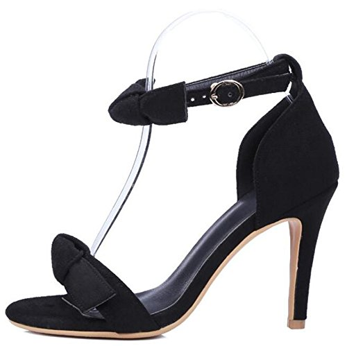 Sweet Womens Open With Bowknot Easemax Black Sandals Toe High Buckle Heel w6qHxd5