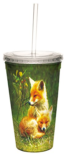 Tree-Free Greetings Insulated Travel Drink Tumbler with Straw, 16 oz, Foxes Relaxing by Tree-Free Greetings