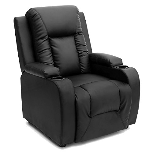 More4Homes OSCAR BONDED LEATHER RECLINER w DRINK HOLDERS ARMCHAIR SOFA CHAIR RECLINING CINEMA (Black)