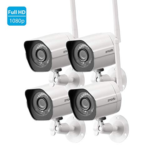 Zmodo 1080p Full HD Outdoor Wireless Security Camera System, 4 Pack Smart Home Indoor Outdoor WiFi IP Cameras with Night Vision, Works with Alexa (SD-H1080P-Z-4)