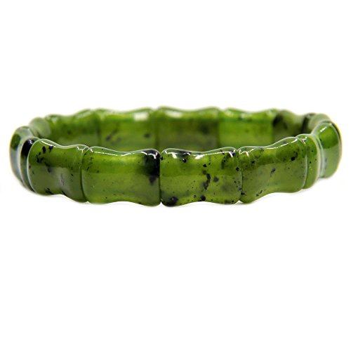 Gemstone Natural Canadian Nephrite Jade Bamboo Festival Beaded Stretchable Charm Bracelet (Nephrite Jade Gemstone)