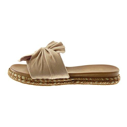 Slip Moda Intrecciato Cm Angkorly Tacco on Scarpe Donna Cordino Beige Ciabatte Sandali Nodo Piatto 3 xqZRHZX