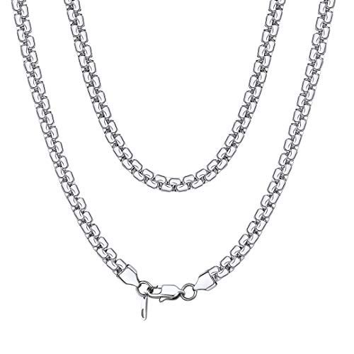 ChainsHouse Women Men 6mm Square Rolo Box Chain 316L Stainless Steel Necklace for Pendant 18