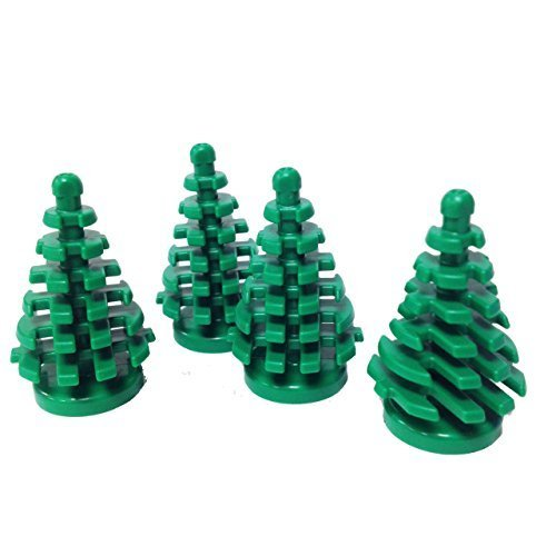 Lego Parts: Plant, Tree Pine Small 2 x 2 x 4 (Pack of 4 - Green) (Village Pine Tree)