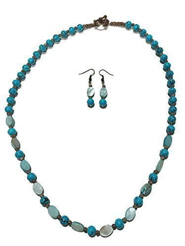 0df3b38c76040 Amazon.com: Blue Mother-of-Pearl Necklace and Earring Set: Handmade