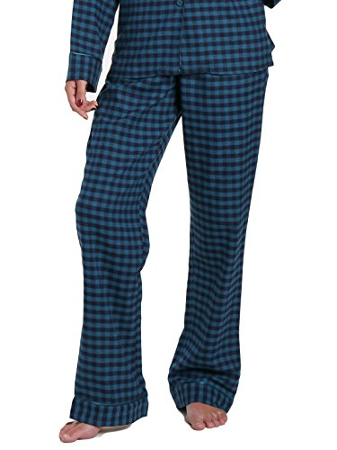 Gingham Flannel (Noble Mount Women's Premium Flannel Lounge Pant - Gingham Teal Blue - Large)