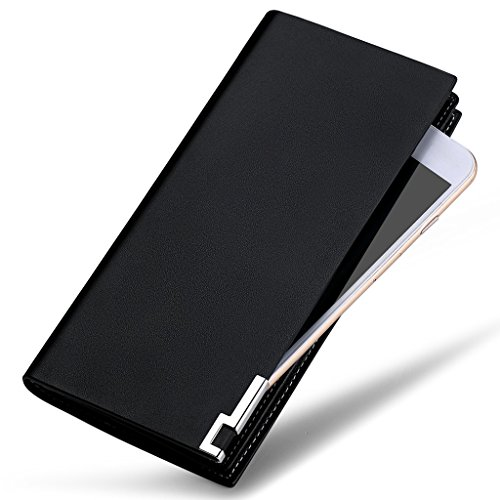William POLO Men's Genuine Leather Bifold Long Purse Business Clutch Bag Mens Billfold Wallet ID Credit Card Holder Money Clip POLO111 Black
