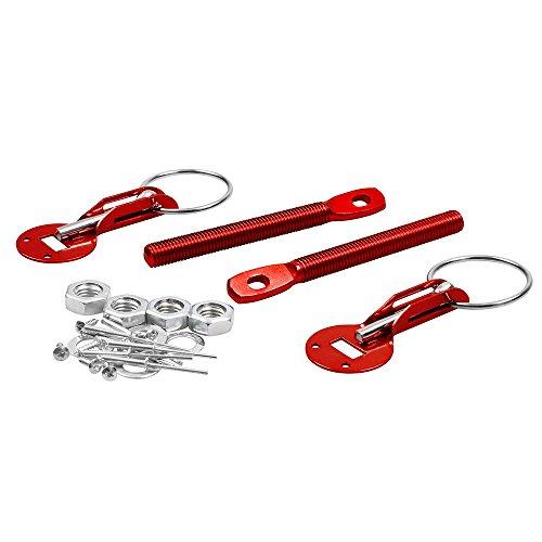 ETbotu Flush Hood Mount Bonnet Latch Catch Pin Key Locking Kit Vehicle Car Universal red