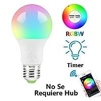 MINQISU Foco Inteligente, Foco LED Regulable, Funciona con Alexa y Google Home, Luces Multicolor cambiantes de Color, E27 4.5W