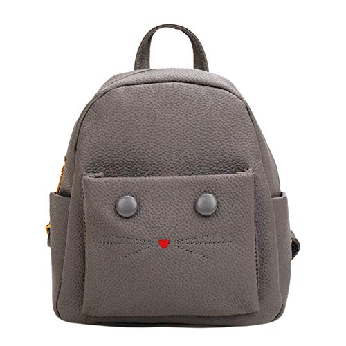 School Shoulder Occitop Bags Cat Grey Teenage Girls Leather Women PU Cute Mini Backpacks zqTvHwz