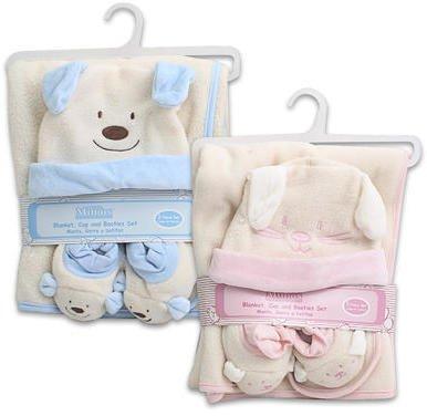 3Pc Baby Blanket Bootie Cap Set Pink/Blue 48 pcs sku# 1335474MA