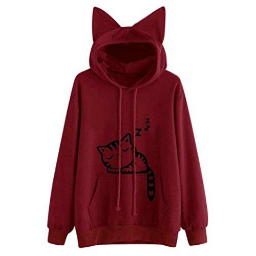AMSKY Women Teen Girls Cute Cat Ear Animal Print Crop Sweatshirt Junior Pullover Hoodie Top Blouse Pockets (M, ()