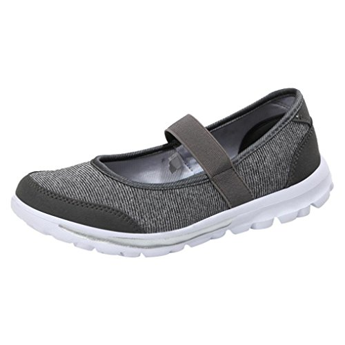 Sikye Women's Slip-on Sneakers Mesh Running Shoe Breathable Casual Fitness Shoes Mary Jane (US:6.5, Dark Gray)