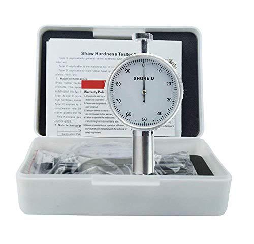 Dial White Rubber - VTSYIQI LX-D-1 Shore Hardness Tester Type D Durometer Dial Single Pointer Hardness Meter with Analog Portable Durometer Shore D Sclerometer Tester Color White