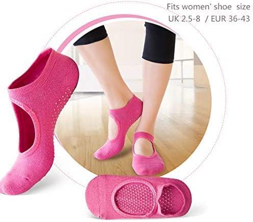 YIQI 4 Pairs Womens Non-Slip Yoga//Pole Cotton Socks for Sports Pilates Ballet and Pole