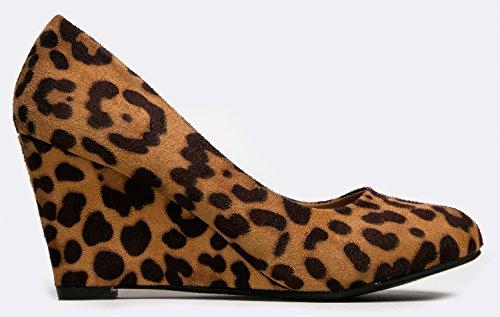 J. Tallone Con Zeppa Adams - Simpatica Scarpa Da Ufficio Casual - Easy Low Pump - Slip Basic On Work Wedge - Nove Di Camoscio Leopardo