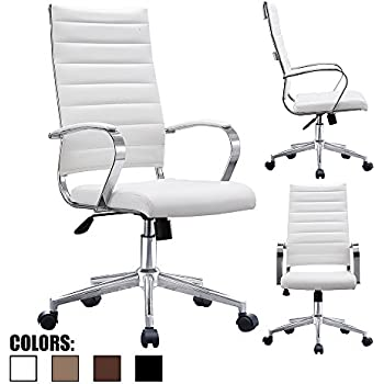 office chair designer. 2xhome - Modern High Back Tall Office Chair Ribbed White PU Leather With Cushion Swivel Tilt Designer O