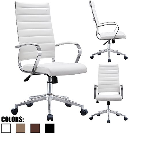 2xhome - Modern High Back Tall Office Chair Ribbed White PU Leather With Cushion Swivel Tilt Adjustable Chair Designer Boss Executive Management Manager Conference Room Work Task Computer by 2xhome