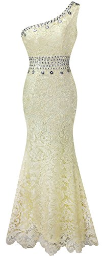 Angel-fashions Womens Apricot Lace Bead Mermaid Sweep Full-Length Ball Gown XXLarge