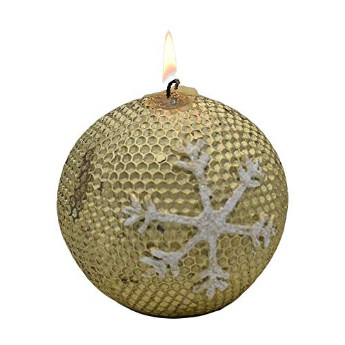 "Ornament Christmas Candle – Decorative 3.5"" Real Burning Wax Candle w/Stunning Sparkly Snowflake Design Idea for Holiday, Birthday, Housewarming, Secret Santa & More"