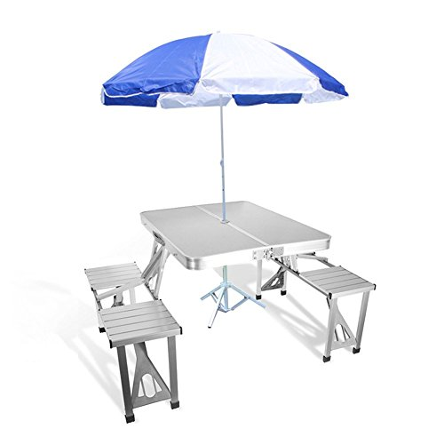 Bartonisen Folding Picnic Table Aluminum Travel Table Coffee Tables 4 Folding Seats Suitcase (Table & Umbrella)