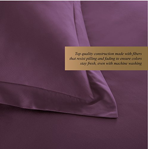HC COLLECTION Hotel Luxury 3pc Duvet Cover Set-1500 Thread Count Egyptian Quality Ultra Silky Soft Premium Bedding Collection-King Size Eggplant by HC COLLECTION (Image #3)