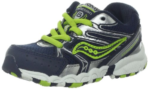Saucony Boys Baby Cohesion Lace Running Shoe (Toddler),Navy/Lime/Silver,6 M US Toddler