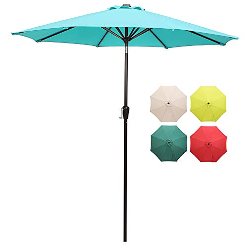 domi outdoor living Patio Umbrella, 9 Outdoor Table Market Umbrella with Push Button Tilt Crank, 8 Ribs, Light Blue