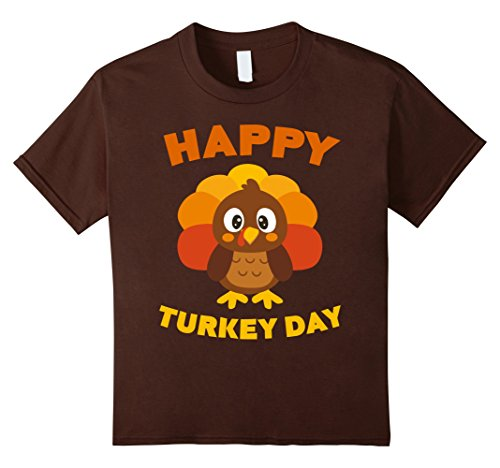 Price comparison product image Kids Happy Turkey Day T-Shirt Funny Thanksgiving Gift Shirt 8 Brown