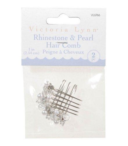 UPC 885188900553, Darice VL6766 Rhinestone/Pearl Hair Comb, 1-Inch, 2-Pack