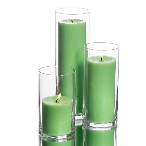 Set Candles Floating Green - Richland Set of 3 Glass Eastland Cylinder Vases and 3 Green Pillar Candles 3