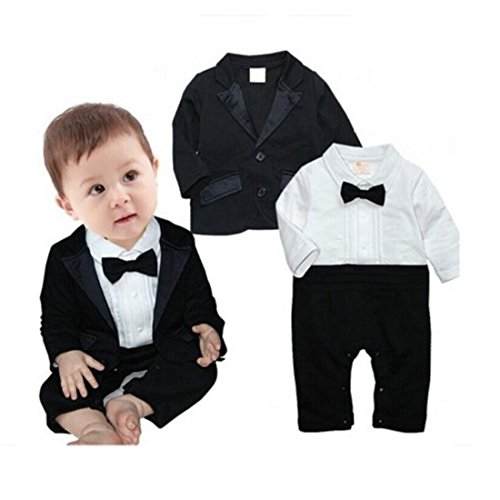 All In One Suit - Newborn Baby Boy Romper Rompers Tuxedo All-in-one Suit Bowtie Bodysuit Set (95(18-24month), 3)