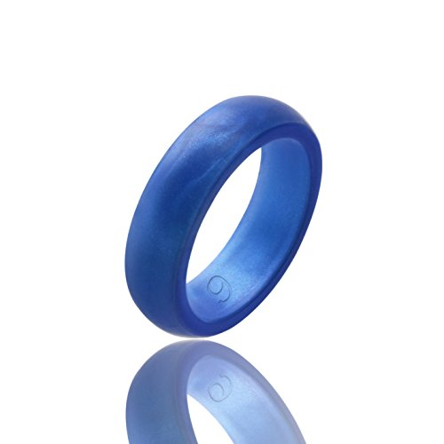 beilove Women's Silicone Wedding Ring,6 Ring Pack (Sapphire Blue, size ()