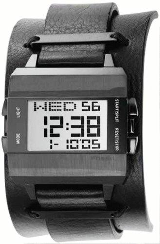 Fossil JR9305 - Reloj digital de cuarzo para hombre con correa de piel, color negro: Amazon.es: Relojes