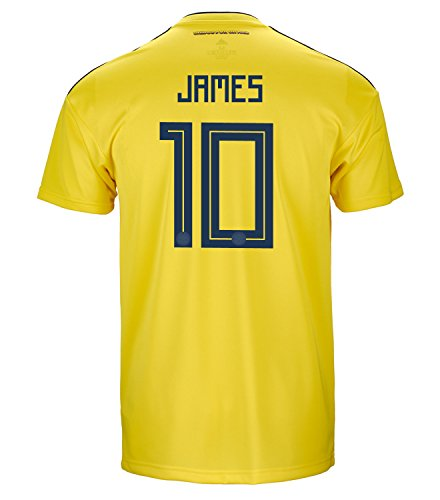 (adidas James #10 Colombia Official Home Men's Soccer Jersey World Cup Russia 2018 (S))