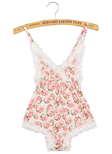 DQdq Infant Baby Girls' Romper Summer Jumpsuits with Lace Edge Pink Rose Small/6-12 Months - Edge Romper