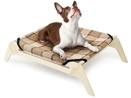 STOCK SALE] Wooden Elevated Dog Bed, Large, Plaid Canvas, Raised Dog Bed off the Ground, Natural Plywood Frame, Pet Cot ()