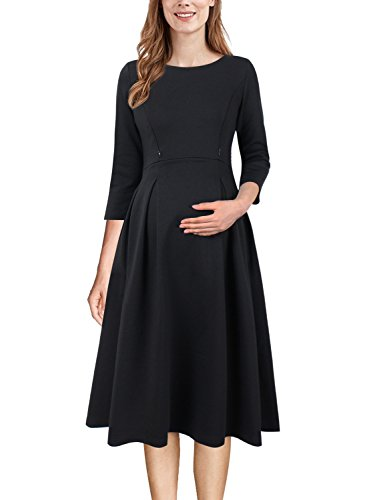 VFSHOW Womens Mama Maternity Nursing Pockets Pleated Skater A-Line Dress