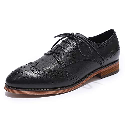 MIKCON Womens Oxfords Shoes Leather Perforated Wingtip Lace up Flats Saddle Brogue Shoes for Womens - Wingtip Perforated
