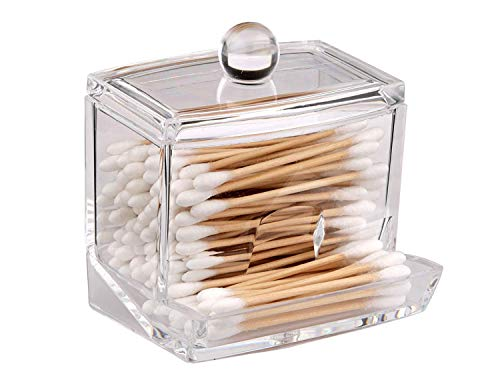 Luv America Q-tip Swab Organizer Canister Dispenser. Beauty Makeup Storage Container and Holder for Accessories. Elegant & Easy Clear Plastic Acrylic for Bathroom Countertop or Vanity. Guaranteed! - PERFECT QTIP ORGANIZER. Premium Quality Design. Great for Many of Uses for Girls, Women, Men, Home or Office. EASY TO CLEAN: Quick and Easy to Wash and Keep Clean. Simply wipe down with a damp cloth with a little soap. Dishwasher Safe. MAKES A GREAT GIFT: Impress Your Fiends for Birthdays Christmas. Fabulous Space Saver for Jewelry, Cosmetics, Brushes, Makeup, Cotton Balls, Qtips and Swabs. - organizers, bathroom-accessories, bathroom - 41K3cwNi6ZL -
