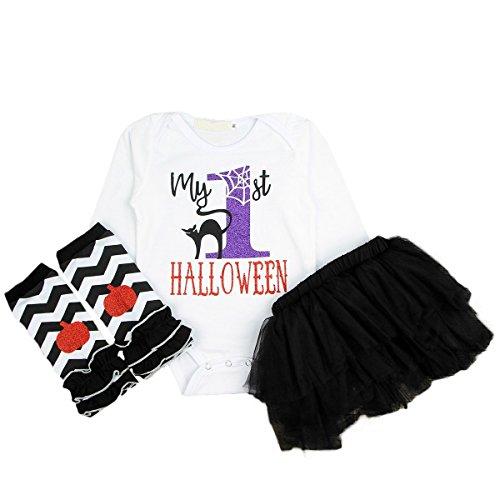 Bebogo 3pcs Infant Baby Girls My First Halloween Long Sleeves Romper Tulle Tutu Skirt Leg Warmer Outfits Set]()
